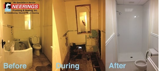 bathroom remodeling stages from Neerings Plumbing